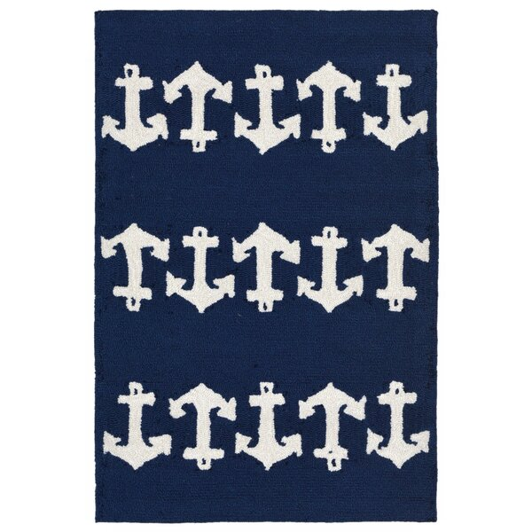 Orinda Anchor Hand-Tufted Navy Indoor/Outdoor Area Rug by Breakwater Bay