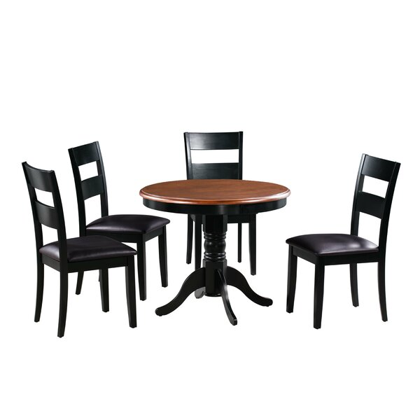 Dahlberg 5 Piece Solid Wood Dining Set by August Grove