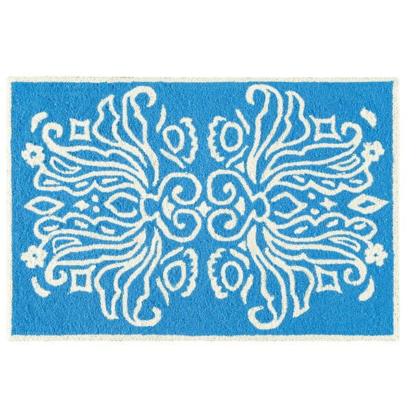 Baccus Wool Blue Area Rug by Ebern Designs