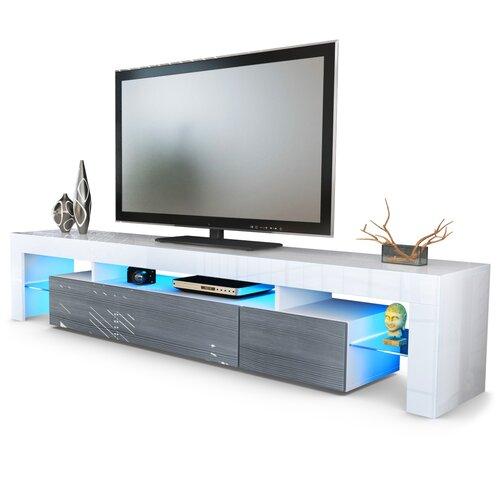 TV Board Lima V2 Vladon Farbe: Weiß (matt)/Avola-Anthrazitfarben| Beleuchtung inklusive: Nein | Wohnzimmer > TV-HiFi-Möbel > TV-Lowboards | Vladon