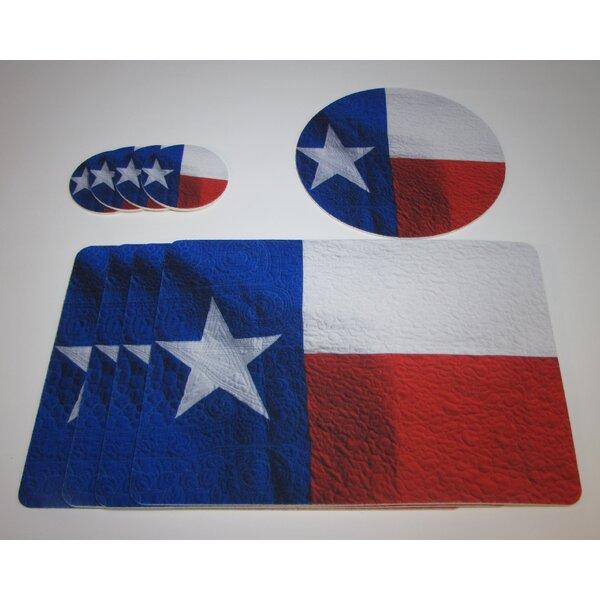 9 Piece Texas Flag Design Tableguard Placemat Set by Metrotex Designs
