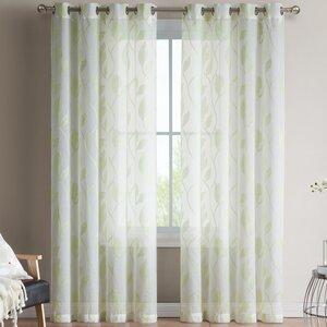 Chloe Jacquard Nature/Floral Sheer Grommet Curtain Panels (Set of 2)
