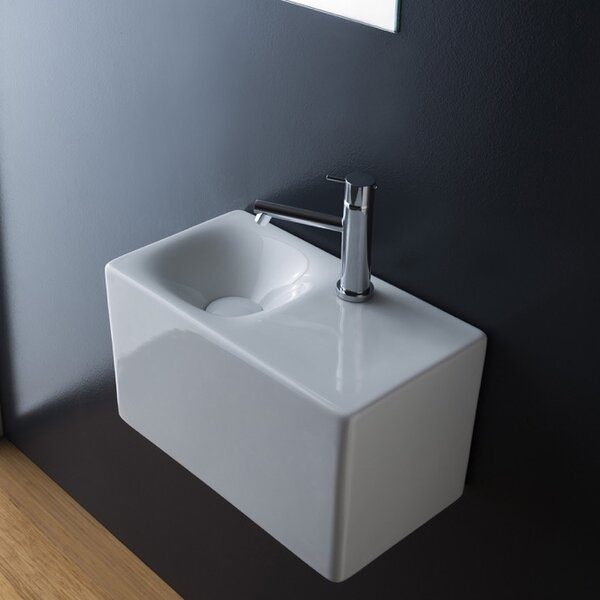 Cube Ceramic 17 Wall Mount Bathroom Sink by Scarabeo by Nameeks