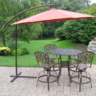Elite Mississippi Swivel 5 Piece Bar Height Dining Set with Umbrella By Oakland Living