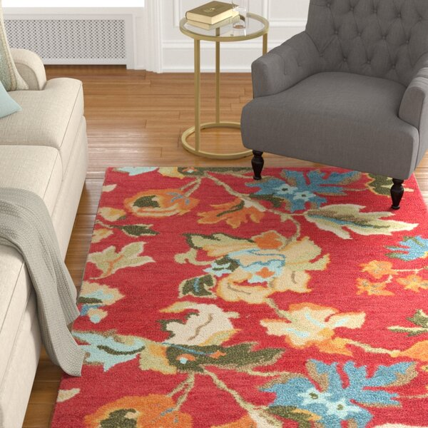 Bradwood Floral Red / Multi Contemporary Rug by Charlton Home