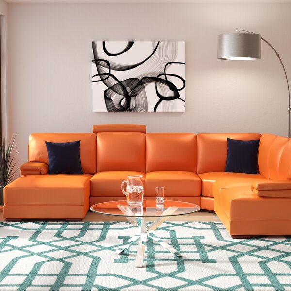 Cana Leather Sectional by Orren Ellis