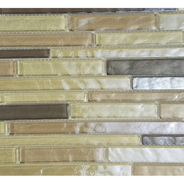 Geo Random Sized Glass Mosaic Tile in Light Brown by Abolos