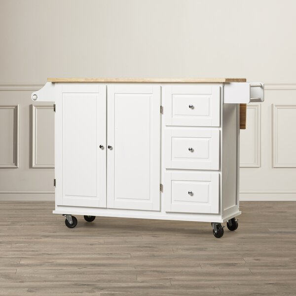 Hardiman Kitchen Cart with Wood Top by Three Posts