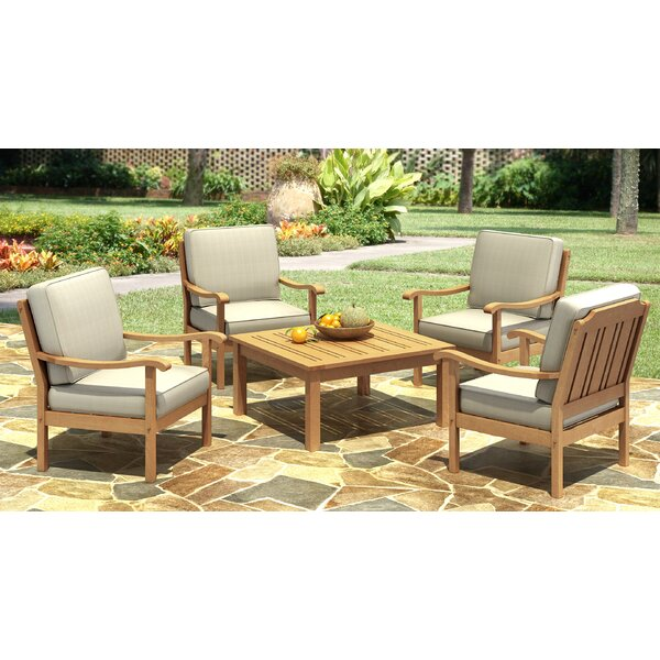 Isaacson 5 Piece Dining Set with Cushions by Highland Dunes