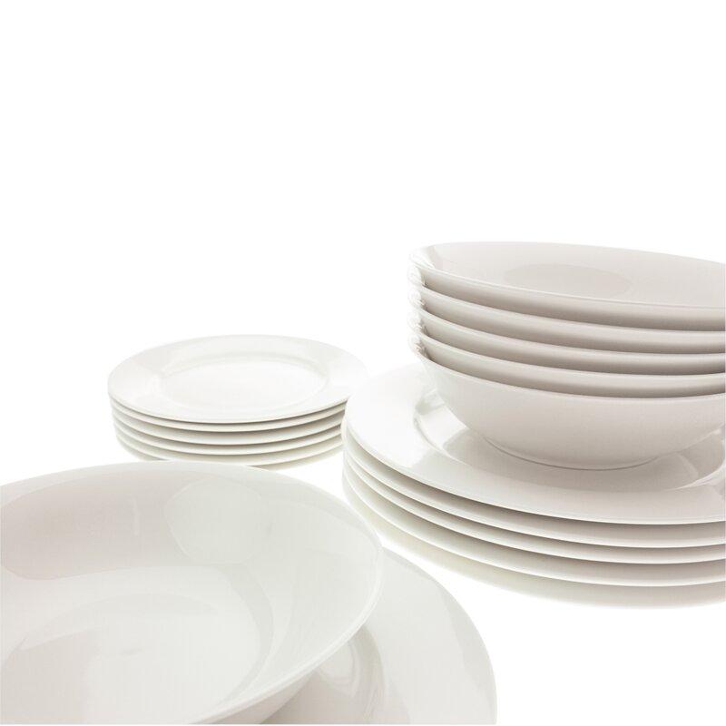 White Basics European 18 Piece Dinnerware Set, Service for 6
