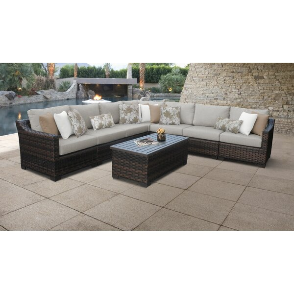 River Brook 8 Piece Outdoor Wicker Patio Furniture Set 08a by kathy ireland Homes & Gardens by TK Classics
