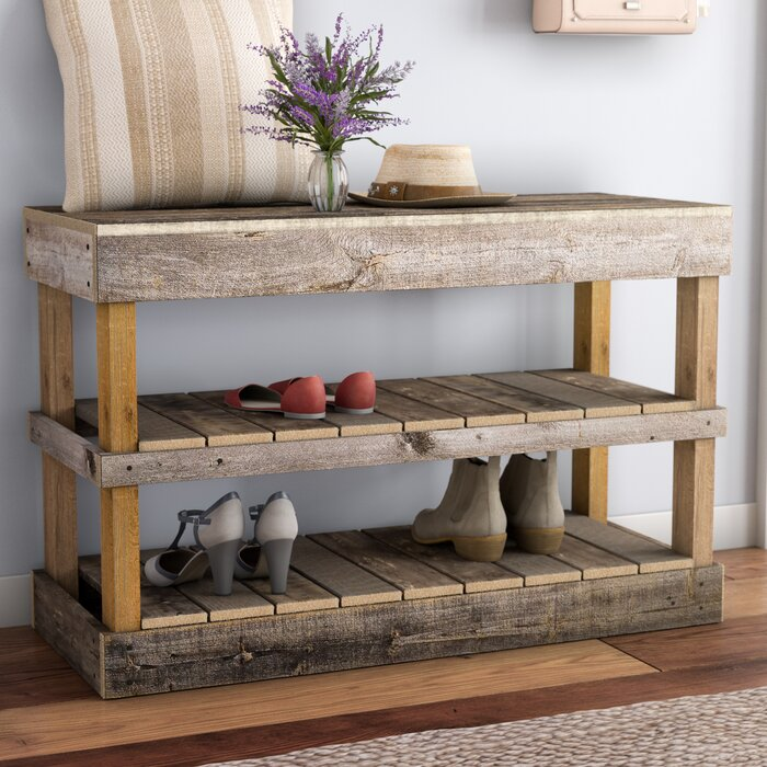 Astonishing Barnwood 8 Pair Shoe Storage Bench Gmtry Best Dining Table And Chair Ideas Images Gmtryco