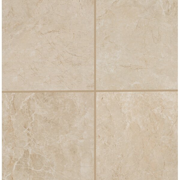 Bradwell Glazed 18 x 18 Porcelain Field Tile in Crema Marfil by Mohawk Flooring