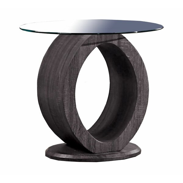 Breckler Glass Top Abstract End Table By Orren Ellis
