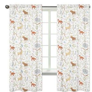 Woodland Toile Wildlife Semi-Sheer Rod pocket Curtain Panels (Set of 2)