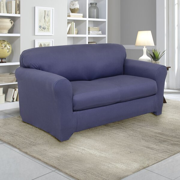 Stretch Fit Box Cushion Loveseat Slipcover By Serta
