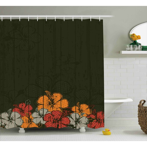 Knapp Abstract Wooden Backdrop With Hawaiian Romantic Flowers Buds Blooms Leaves Shower Curtain by Winston Porter