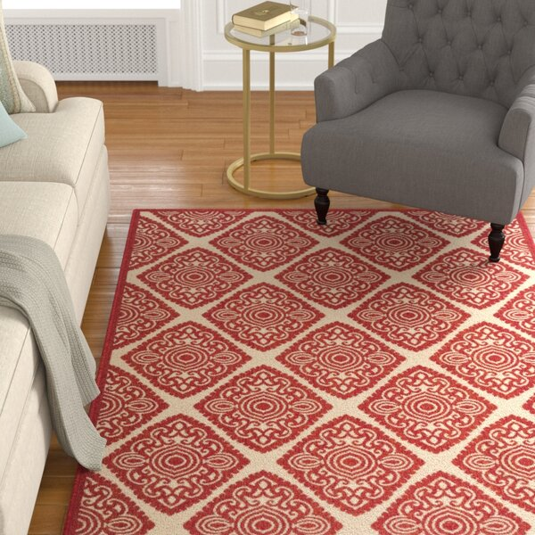 Dreher Red/Creme Area Rug by Darby Home Co