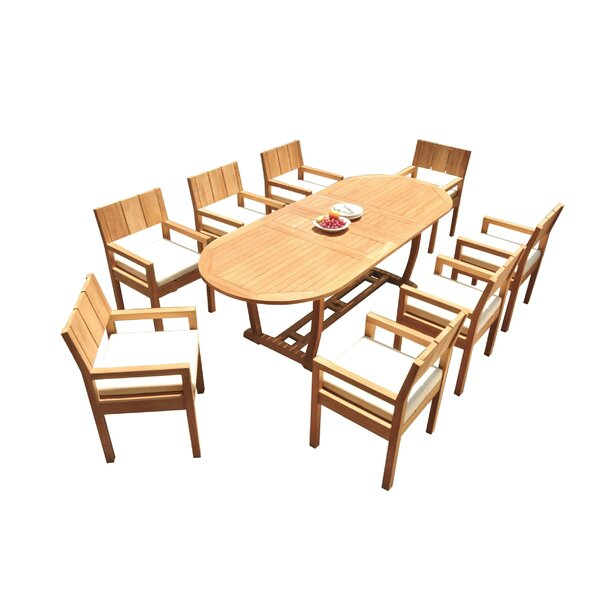 Juin 9 Piece Teak Dining Set by Rosecliff Heights