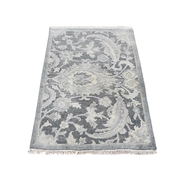 One-of-a-Kind Dilbeck Oxidized Influence Oriental Hand-Knotted Silk Gray Area Rug by World Menagerie