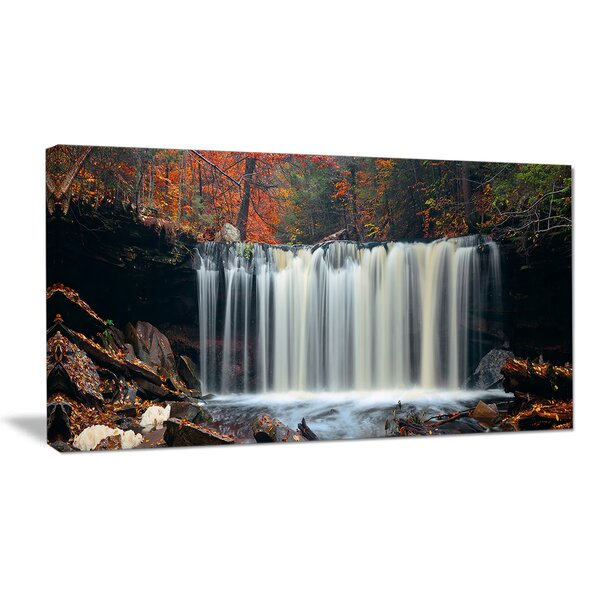 Autumn Waterfall with Colorful Foliage Photographic Print on Wrapped Canvas by Design Art