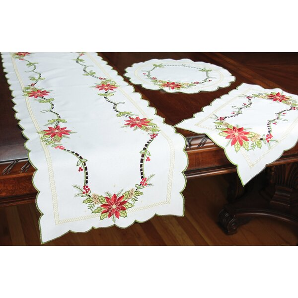 Scrolling Poinsettia Embroidered Cutwork Placemat (Set of 4) by Xia Home Fashions