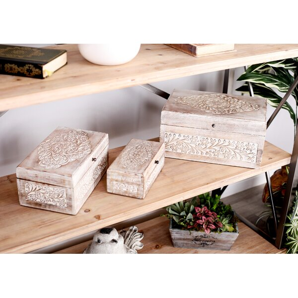 Micaela Carved Natural 3 Piece Decorative Box Set with Lid by Mistana