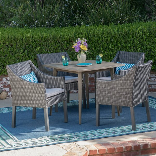 Dunson 5 Piece Dining Set with Cushions by Wrought Studio