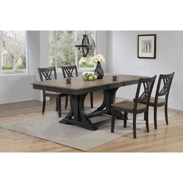 Gerace Double Pedestal Deco Double X-Back 5-Piece Solid Wood Dining Set by Gracie Oaks