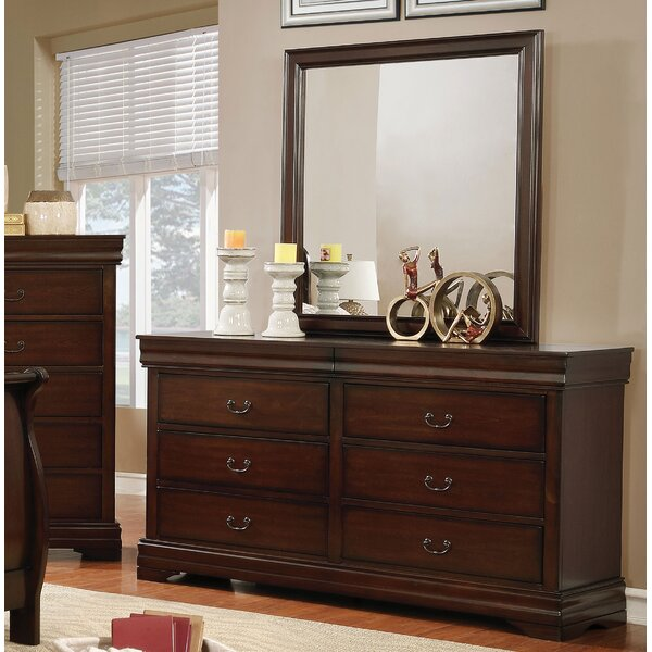 Fredette 6 Drawer Double Dresser with Mirror by Charlton Home