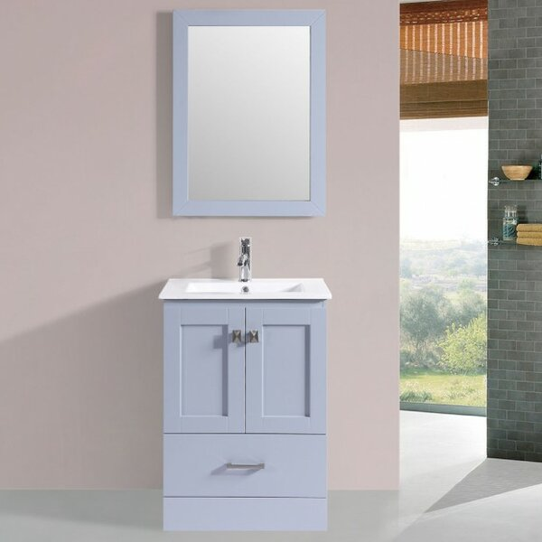 Landover Modern 24 Wood Base Single Bathroom Vanity Set with Mirror by Latitude Run