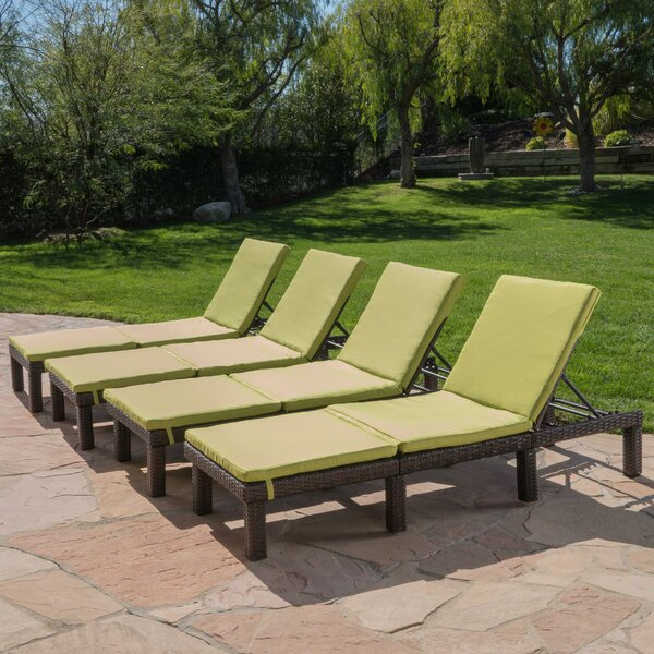 Caston Reclining Chaise Lounge with Cushion (Set of 4) by Longshore Tides Longshore Tides