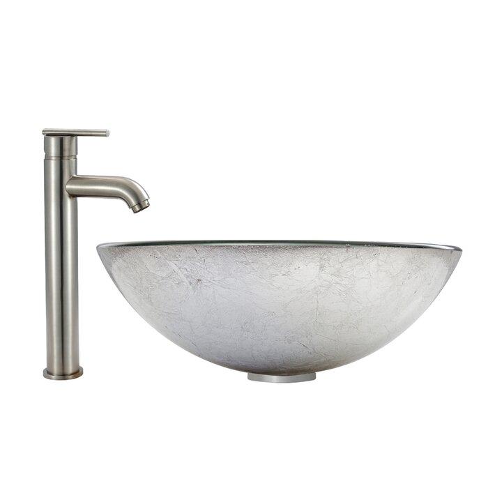 VIGO Simply Silver Glass Circular Vessel Bathroom Sink with Faucet ...