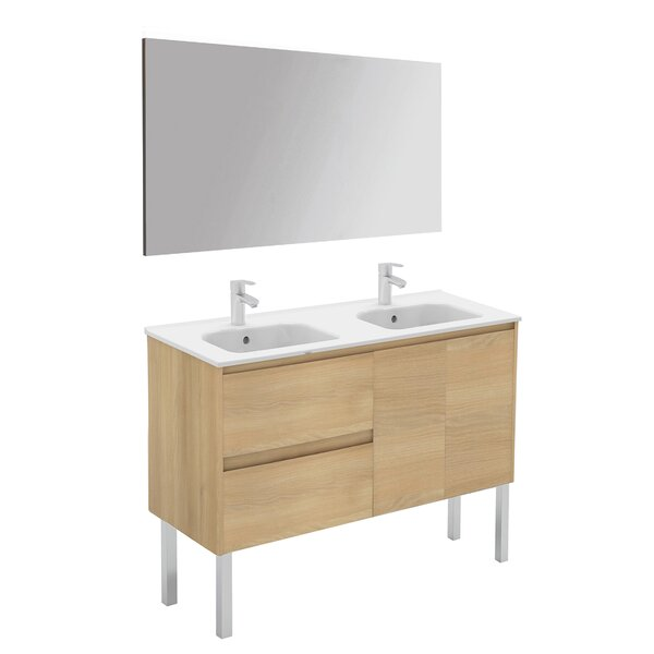 Ambra 48 Double Bathroom Vanity Set with Mirror by WS Bath Collections