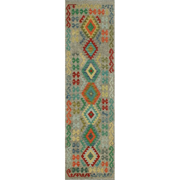 Corda Hand-Knotted Wool Green/Blue Area Rug by Bungalow Rose