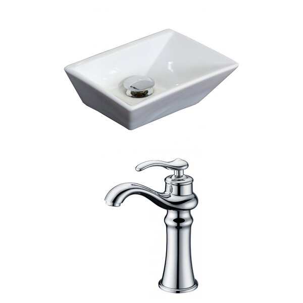 Emily Ceramic Rectangular Vessel Bathroom Sink with Faucet and Overflow by Royal Purple Bath Kitchen