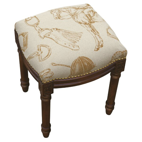 Equestrian Linen Upholstered Vanity Stool by 123 Creations