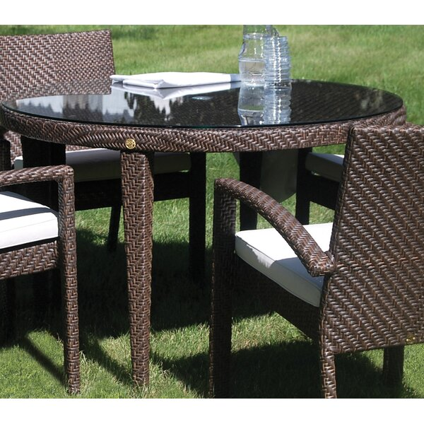Ferrero Patio Woven Round Dining Table with Umbrella Hole by Andover Mills
