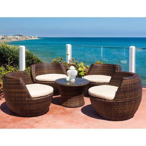 Ohana 5 Piece Rattan Multiple Chairs Seating Group With Cushion By Ohana Depot