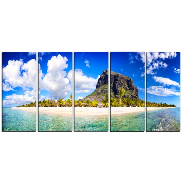 Mauritius Beach Panorama 5 Piece Photographic Print on Wrapped Canvas Set by Design Art