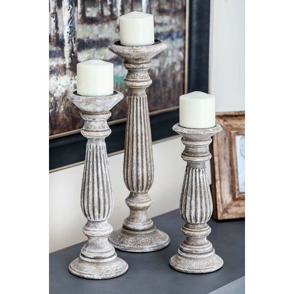 3 Piece Pillar Wood Candlestick Set By Darby Home Co.
