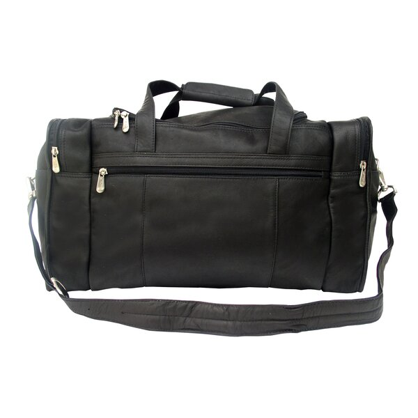 Traveler 19 Leather Weekender Duffel with Side Pockets by Piel Leather
