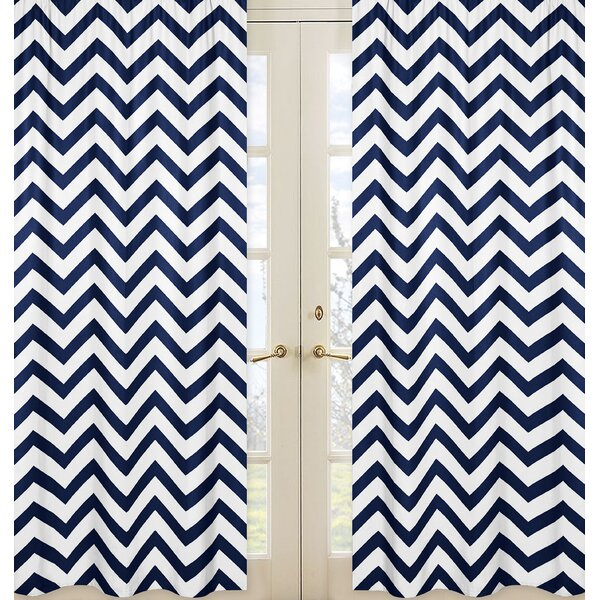 Chevron Semi-Sheer Rod pocket Curtain Panels (Set of 2) by Sweet Jojo Designs