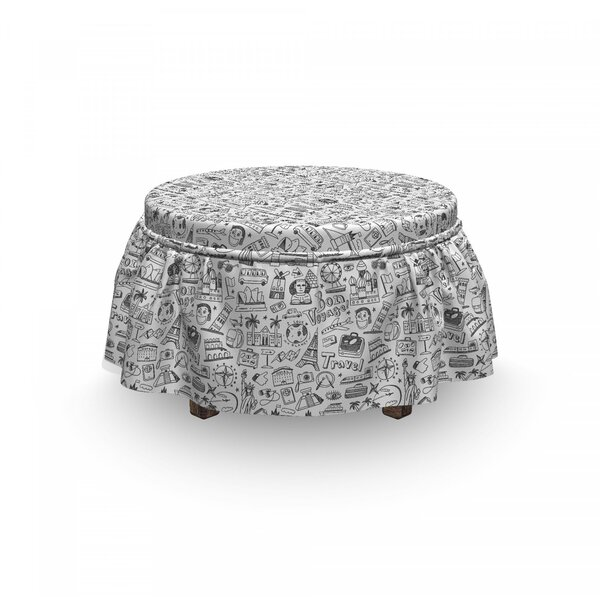 Travel Sketch Ottoman Slipcover (Set Of 2) By East Urban Home