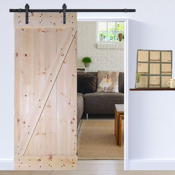 Solid Panelled Wood Slab Interior Barn Door by TMS