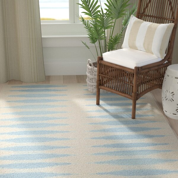 Brook Lane Ivory & Blue Area Rug by Highland Dunes