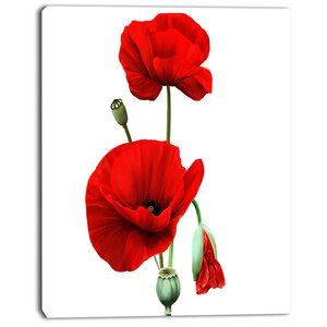 'Red Poppies on White Background' Painting Print on Wrapped Canvas by Design Art