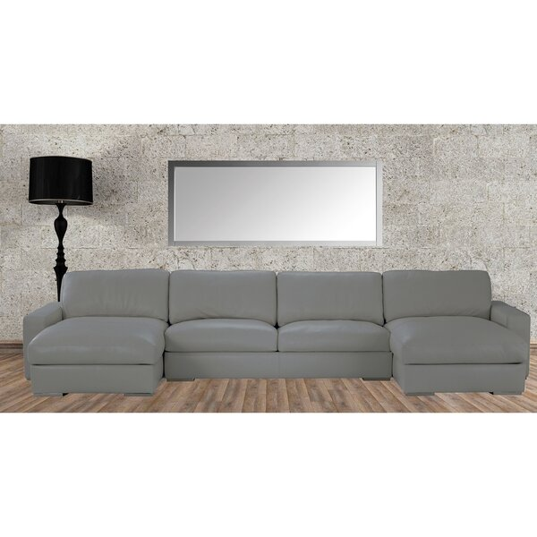 Zulma Leather Sectional by Orren Ellis