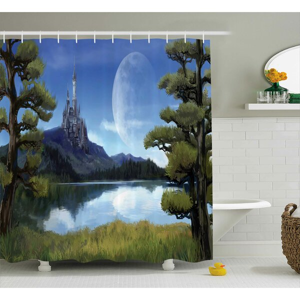 Fantasy Riverside Lake Scene Print Shower Curtain by East Urban Home