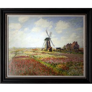 'Fields of Tulip with the Rijnsburg-Windmill 1886' by Claude Monet Framed Painting Print on Wrapped Canvas by Wexford Home
